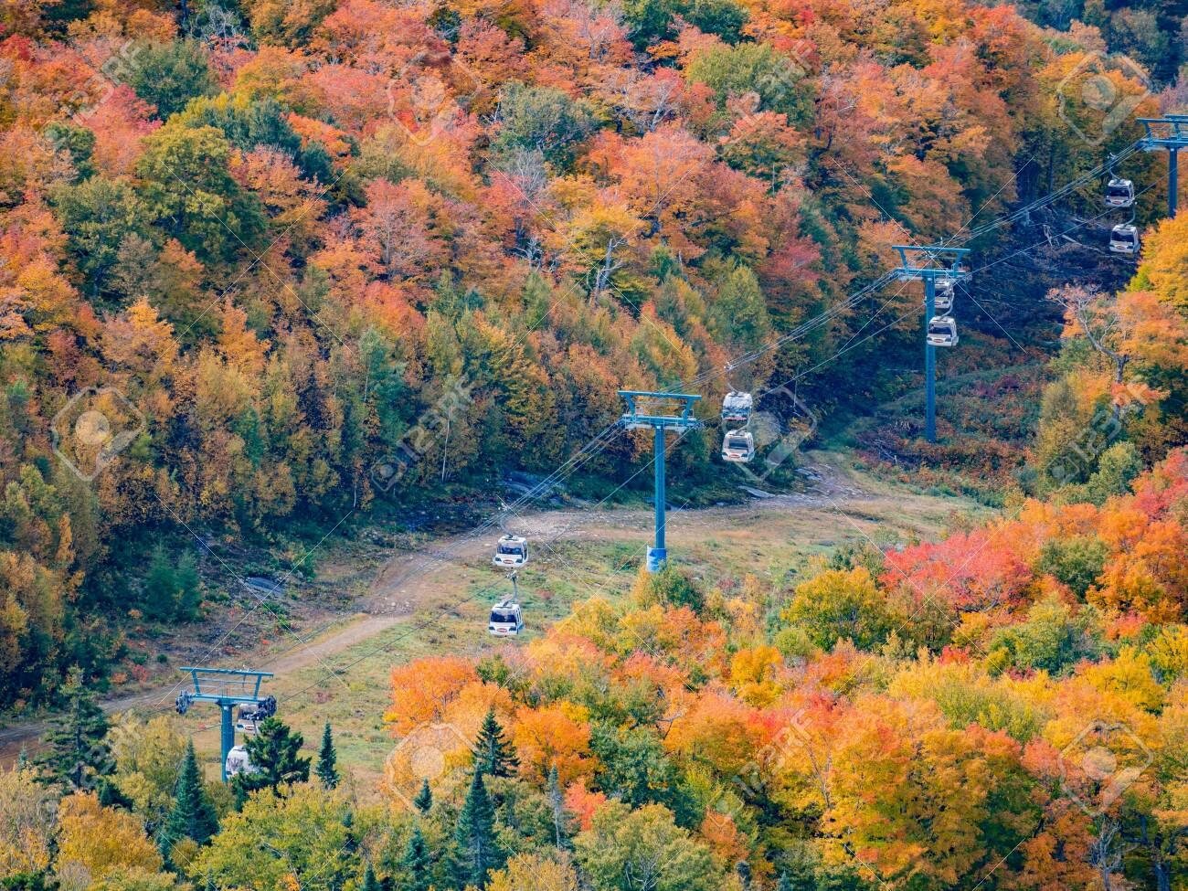Aerial view of Mont-Tremblant National Park in fall color at Quebec, Canada - 116682703