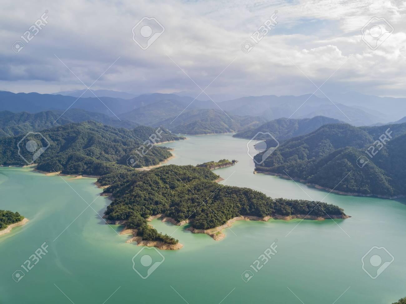 Aerial view of the beautiful Crocodile Island, Qiandao Lake at Shiding District, New Taipei City, Taiwan - 143394110