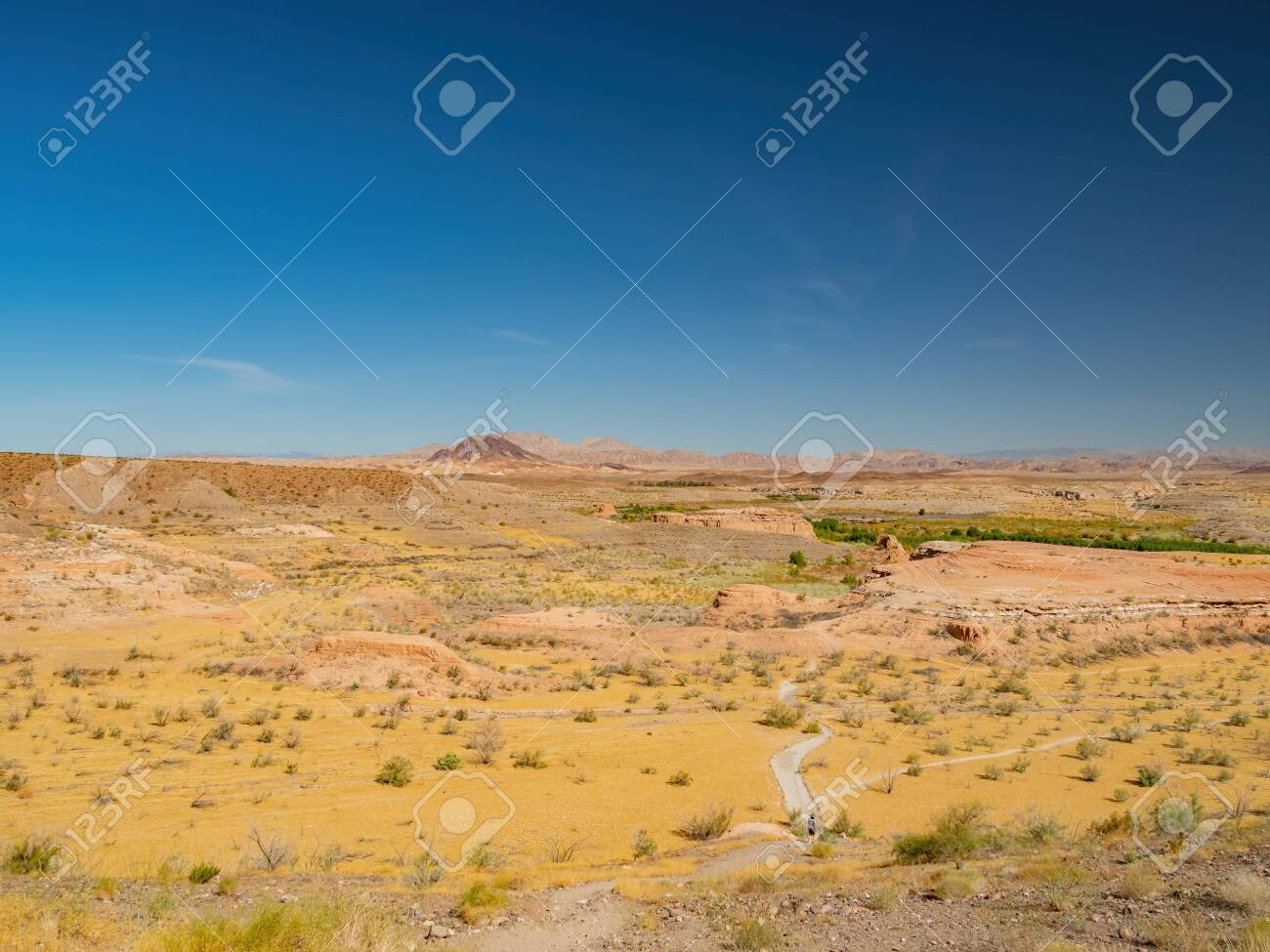 Beautiful landscape along the famous White Owl Canyon trail at Lake Mead, Nevada - 150240395