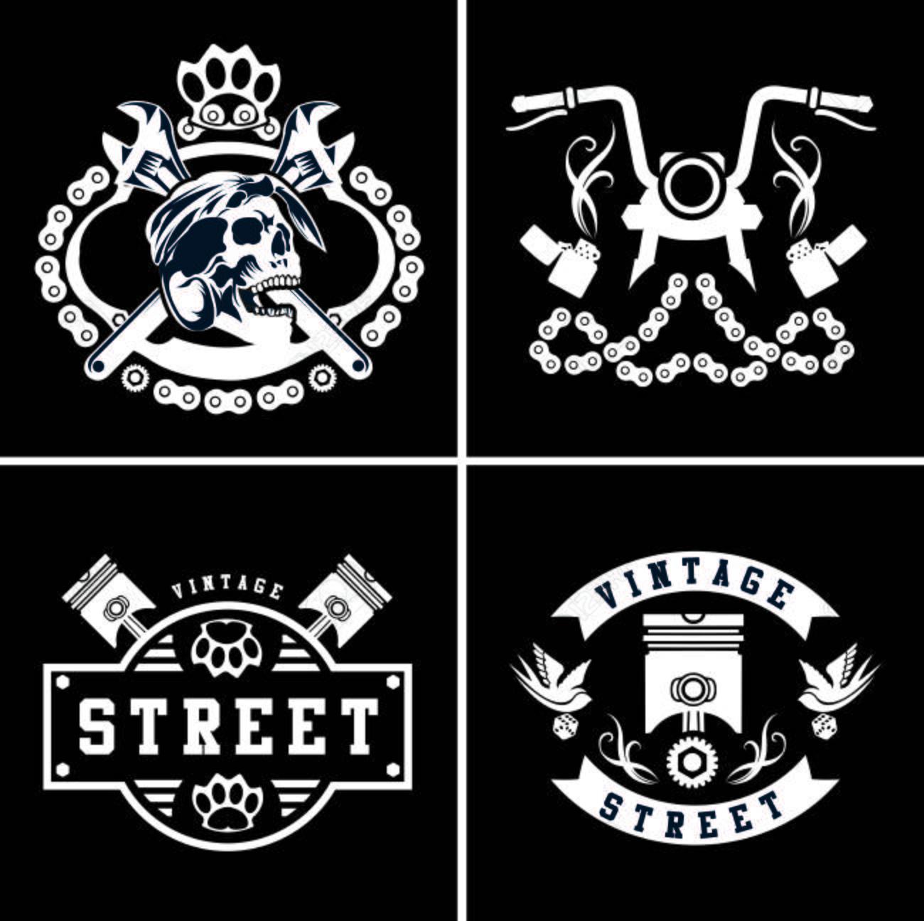 Vector Vintage Biker Club Logos Set Motorcycle Repair Signs