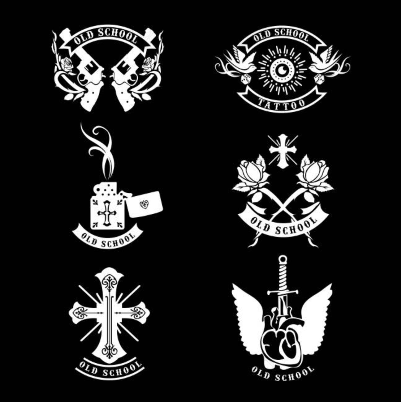 set vector tattoo studio logo templates on dark background cool