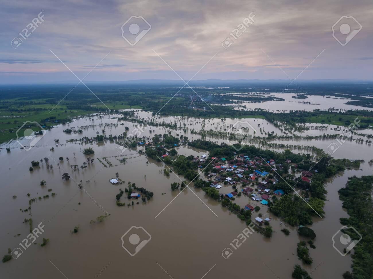Water Flood At Sakon Nakhon Thailand