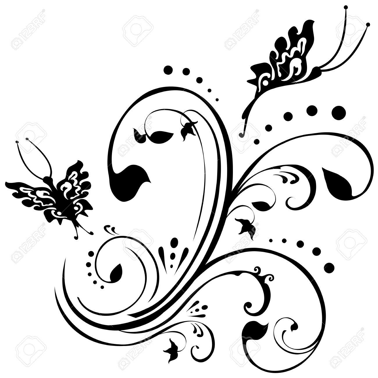 Banque dimages , Les papillons voltigent autour du feuillage. Dessin floral en noir sur un fond blanc.