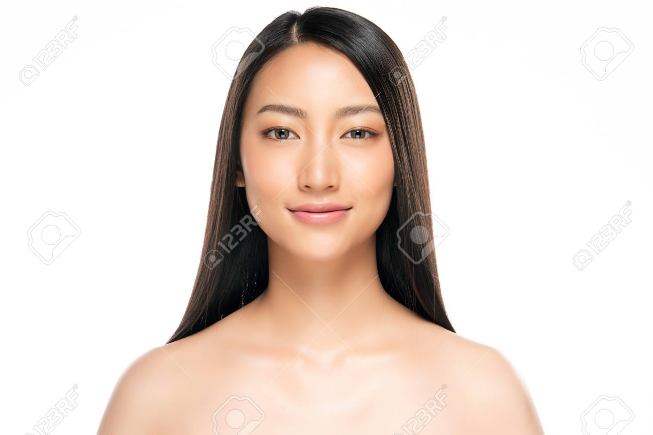 Beautiful Young asian Woman with Clean Fresh Skin look. Girl beauty face care. Facial treatment. Cosmetology, beauty and spa. - 121247068