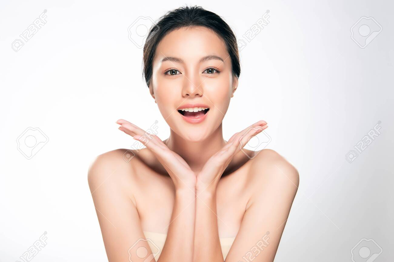 Beautiful Young Asian Woman with Clean Fresh Skin. Face care, Facial treatment, Cosmetology, beauty and spa, - 125269547