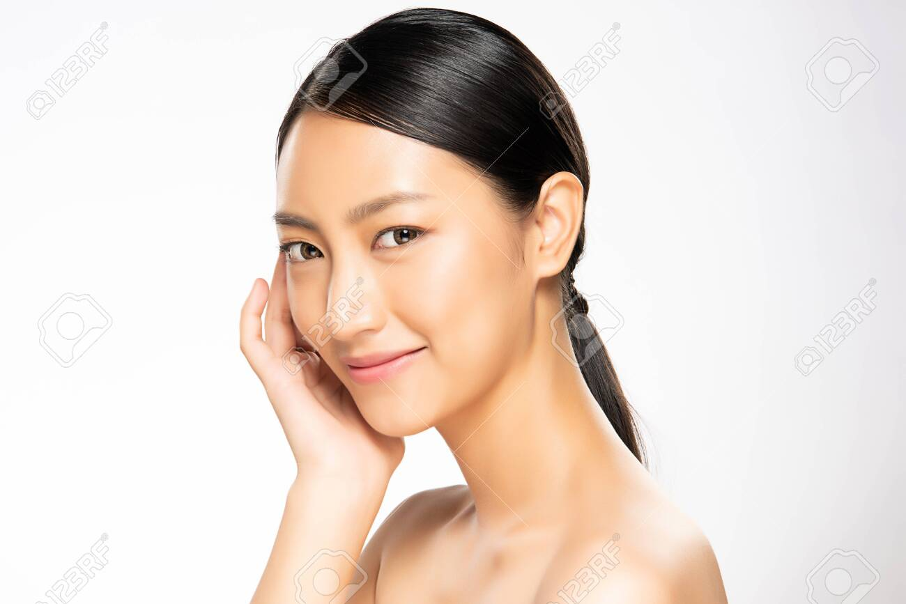 Portrait beautiful young asian woman clean fresh skin concept. Asian girl beauty face skincare and health wellness, Facial treatment, Perfect skin, Natural make up, on white background. - 137503640