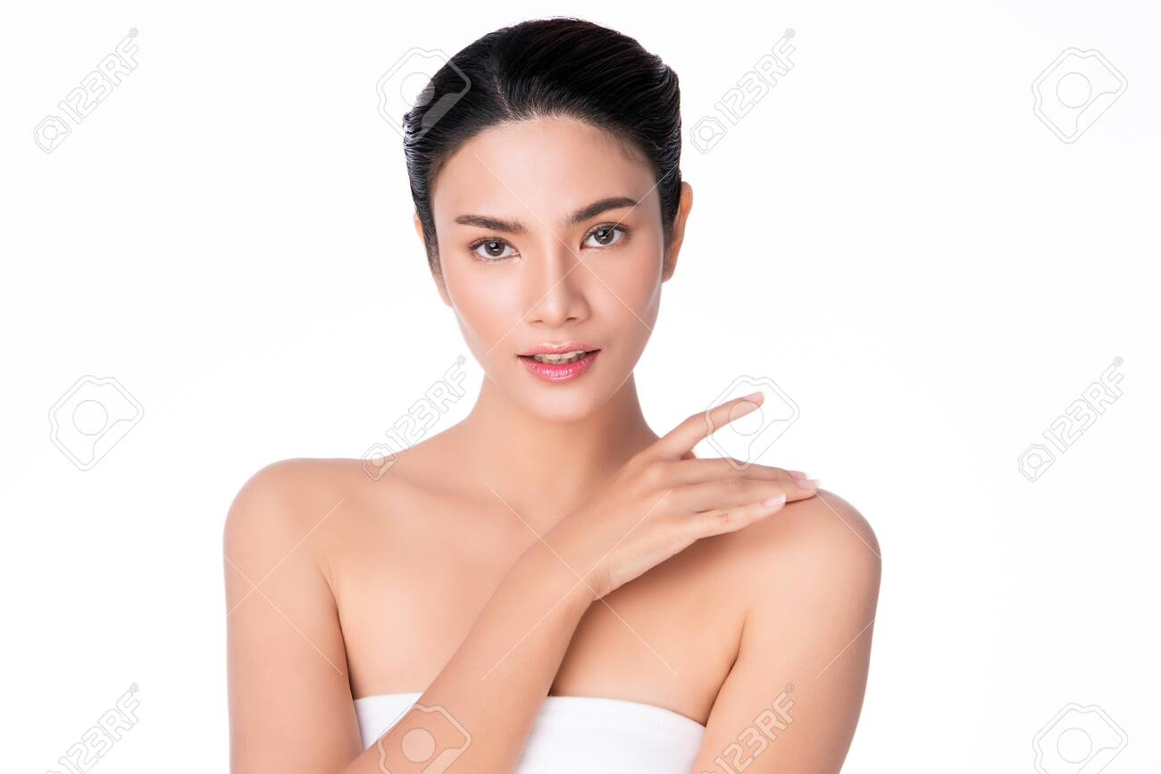 Beautiful Young asian Woman with Clean Fresh Skin, on white background, Face care, Facial treatment, Cosmetology, beauty and spa, Asian women portrait - 153245900