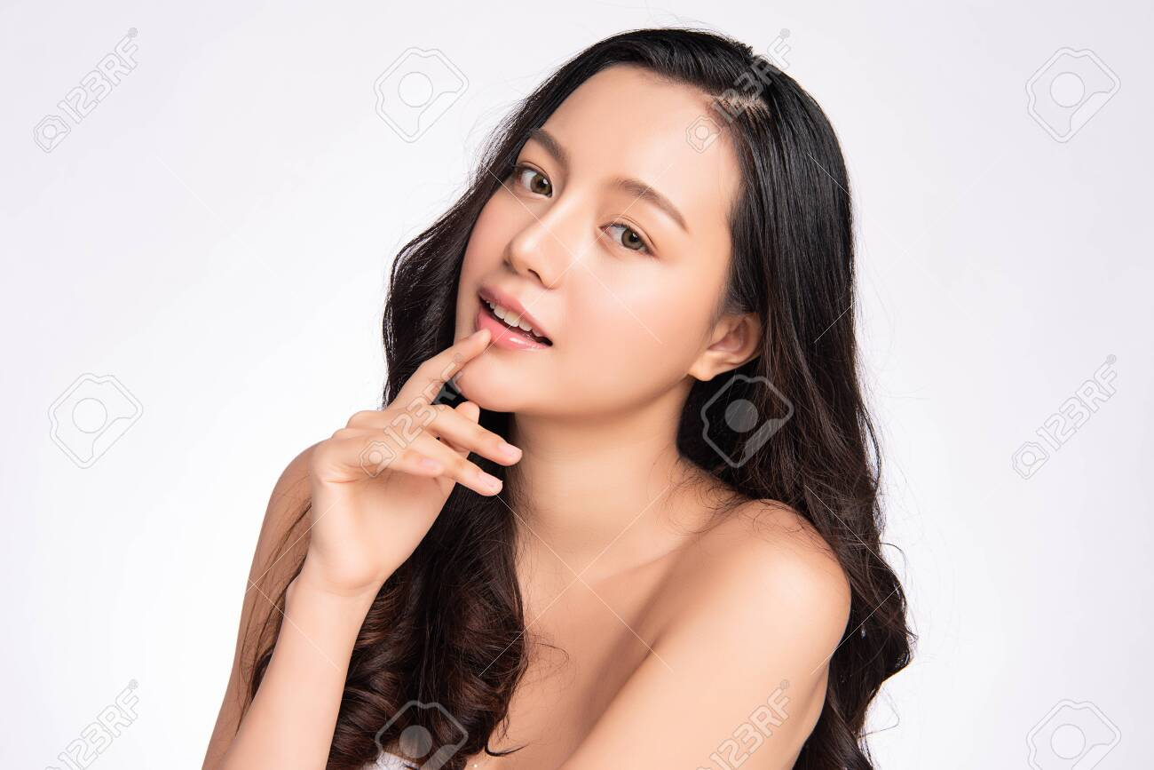 Beautiful young asian woman with clean fresh skin on white background, Face care, Facial treatment, Cosmetology, beauty and spa, Asian women portrait - 155051167