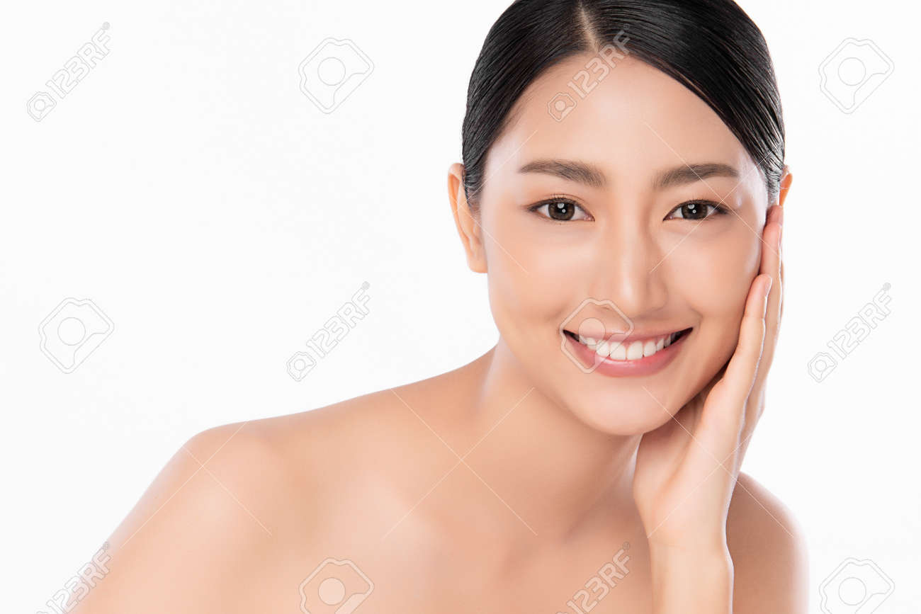 Beautiful young asian woman with clean fresh skin on white background, Face care, Facial treatment, Cosmetology, beauty and spa, Asian women portrait - 157801779