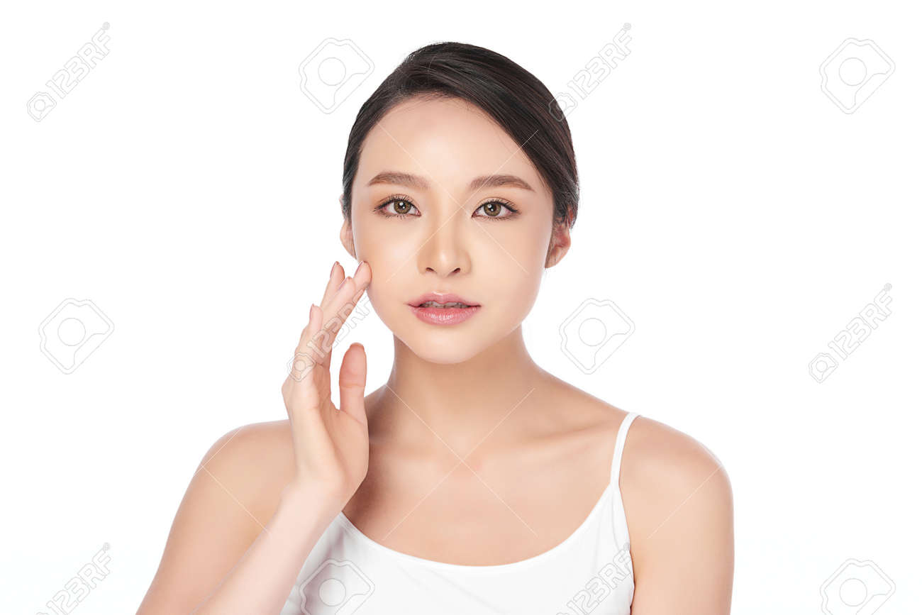 Beautiful young asian woman with clean fresh skin on white background, Face care, Facial treatment, Cosmetology, beauty and spa, Asian women portrait - 157979167