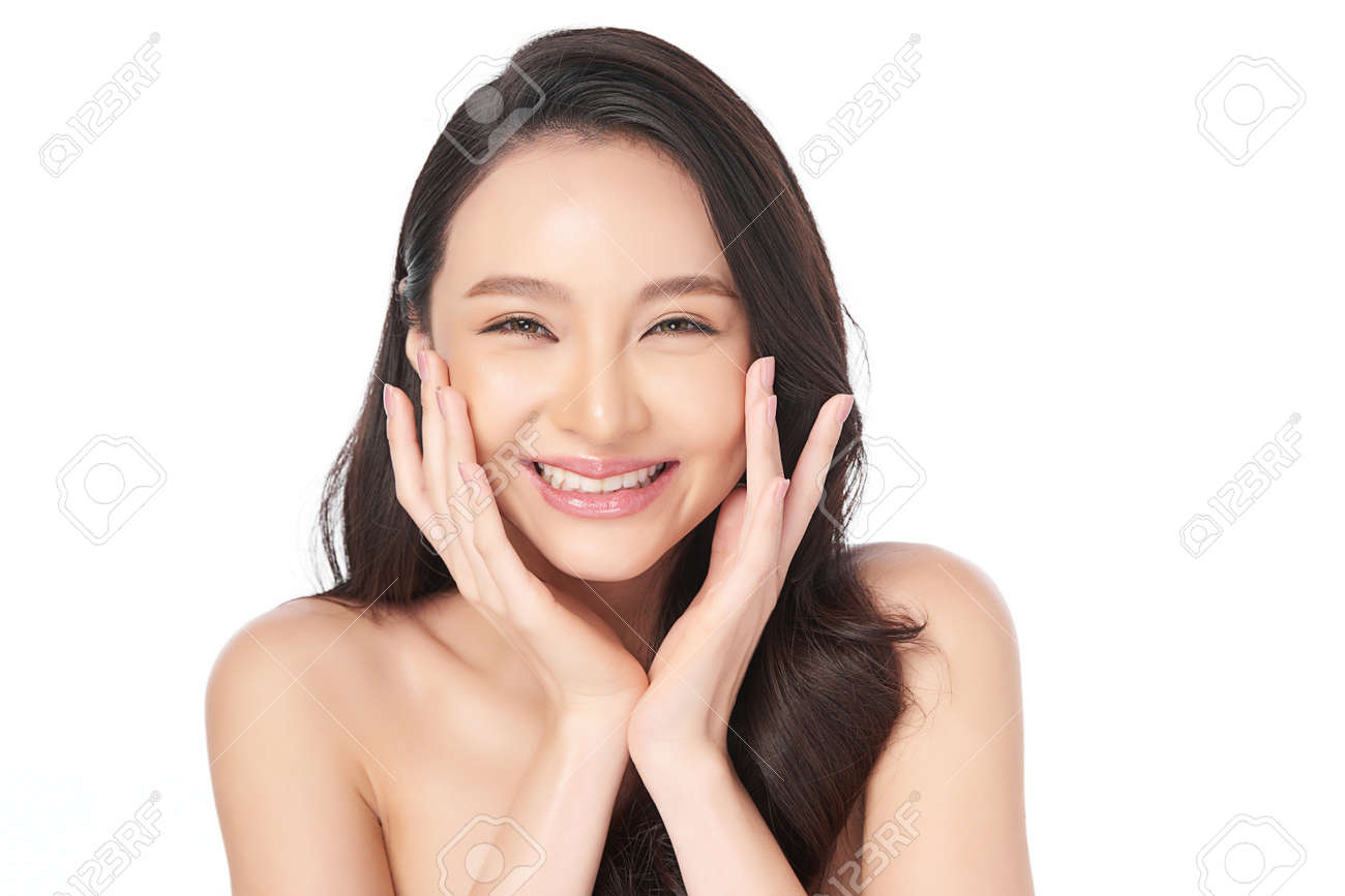 Beautiful young asian woman with clean fresh skin on white background, Face care, Facial treatment, Cosmetology, beauty and spa, Asian women portrait - 159891216