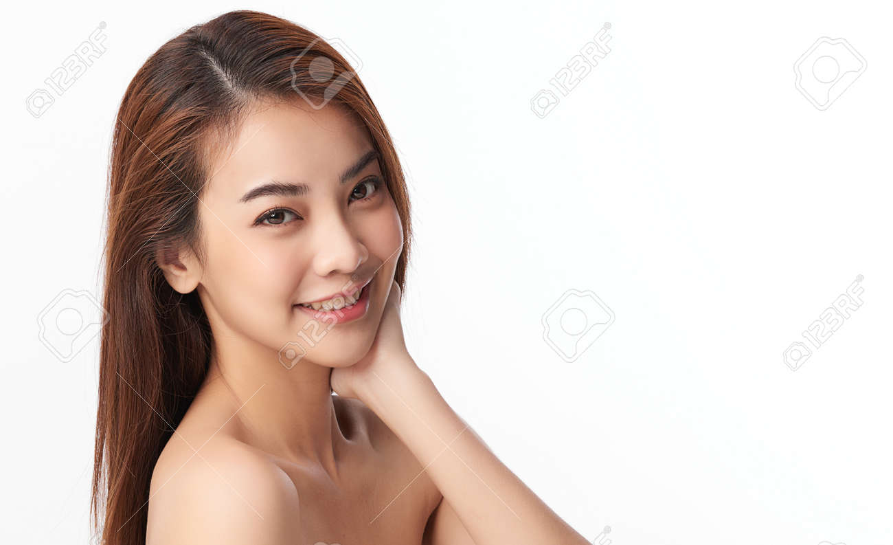 Beautiful young asian woman with clean fresh skin on white background, Face care, Facial treatment, Cosmetology, beauty and spa, Asian women portrait. - 166343121