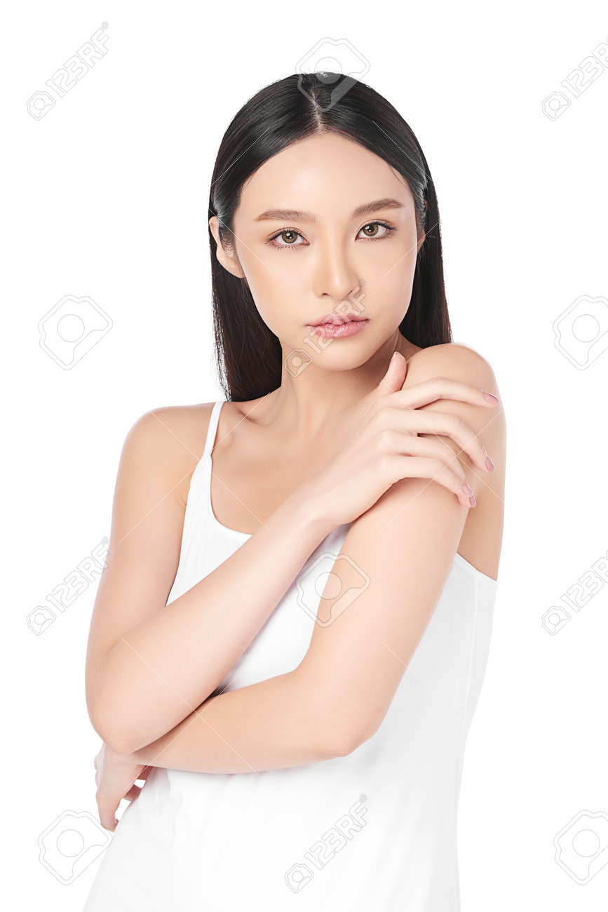 Beautiful young asian woman with clean fresh skin on white background, Face care, Facial treatment, Cosmetology, beauty and spa, Asian women portrait. - 167162620