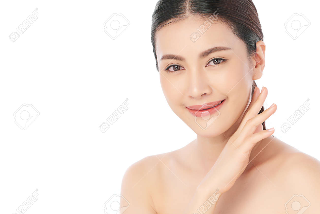 Beautiful young asian woman with clean fresh skin on white background, Face care, Facial treatment, Cosmetology, beauty and spa, Asian women portrait. - 168228121