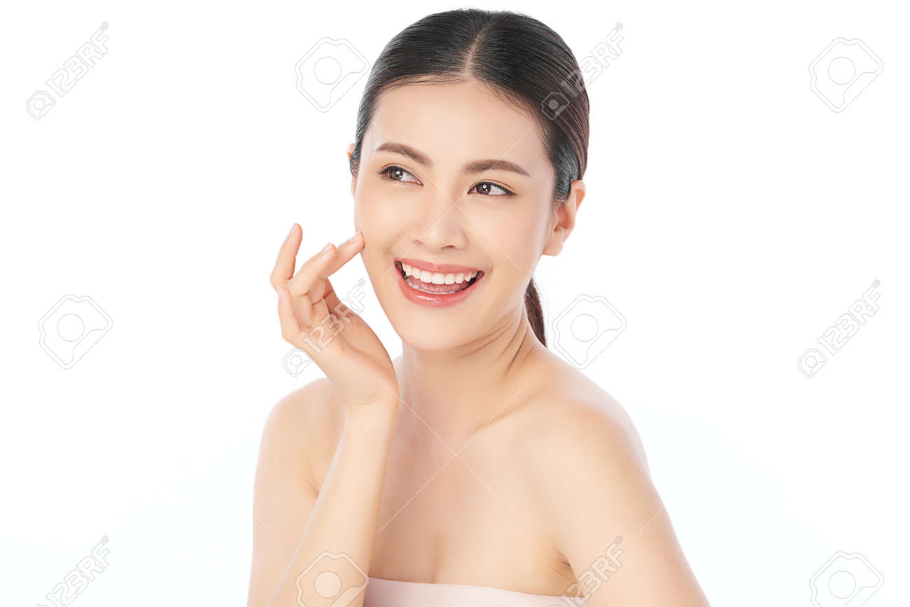 Beautiful young asian woman with clean fresh skin on white background, Face care, Facial treatment, Cosmetology, beauty and spa, Asian women portrait. - 168228126