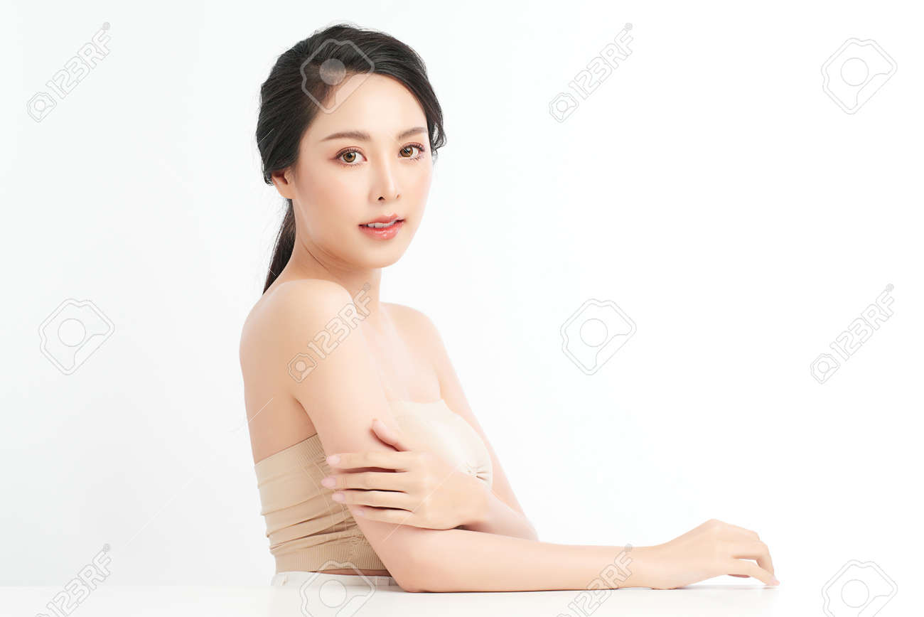 Beautiful young asian woman with clean fresh skin on white background, Face care, Facial treatment, Cosmetology, beauty and spa, Asian women portrait. - 168228142