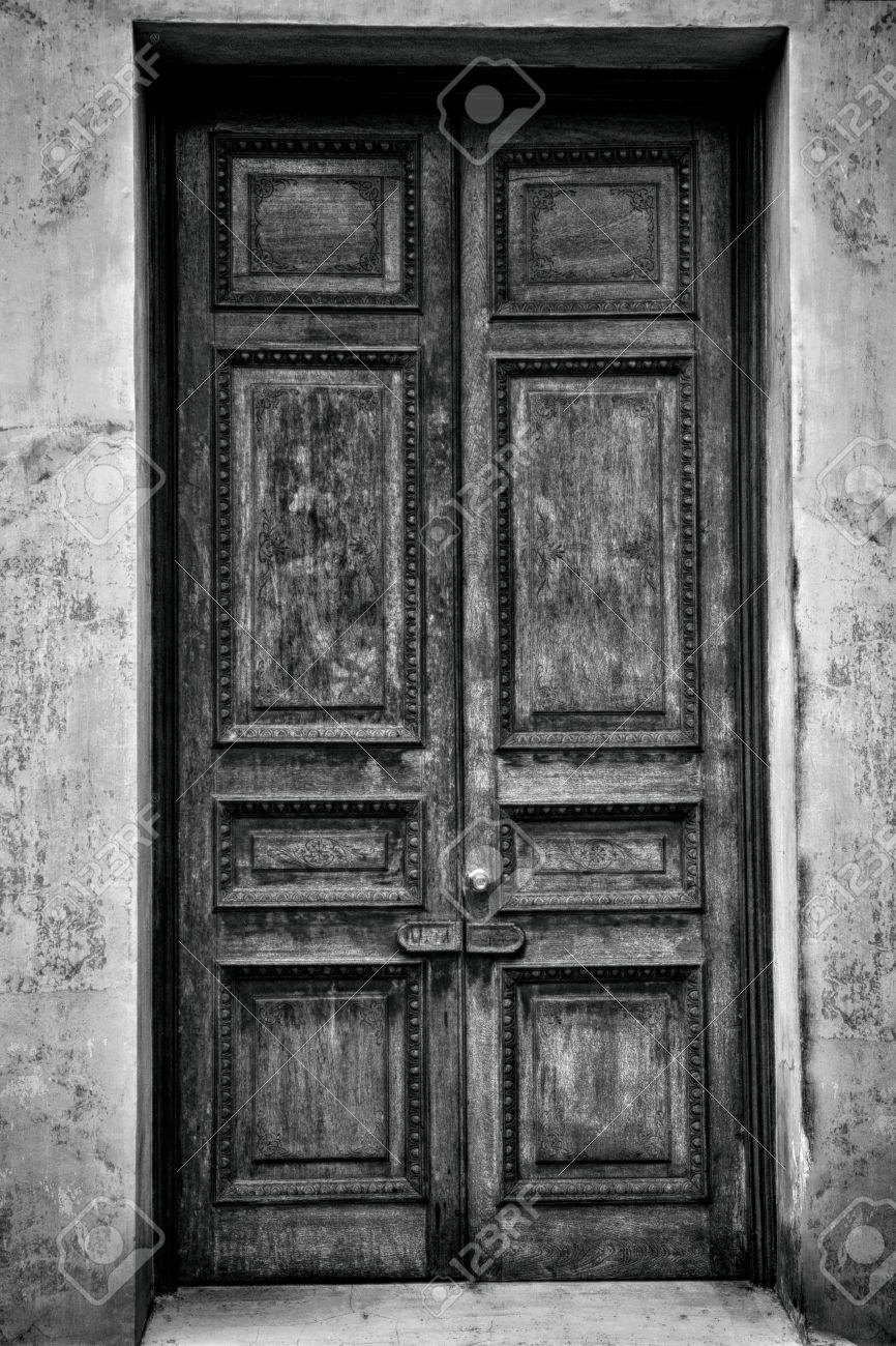 Antique door, Black and White Stock Photo - 17065305 - Antique Door, Black And White Stock Photo, Picture And Royalty