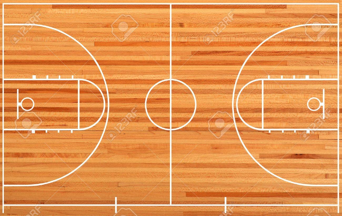 basketball court floor plan on parquet background stock photo