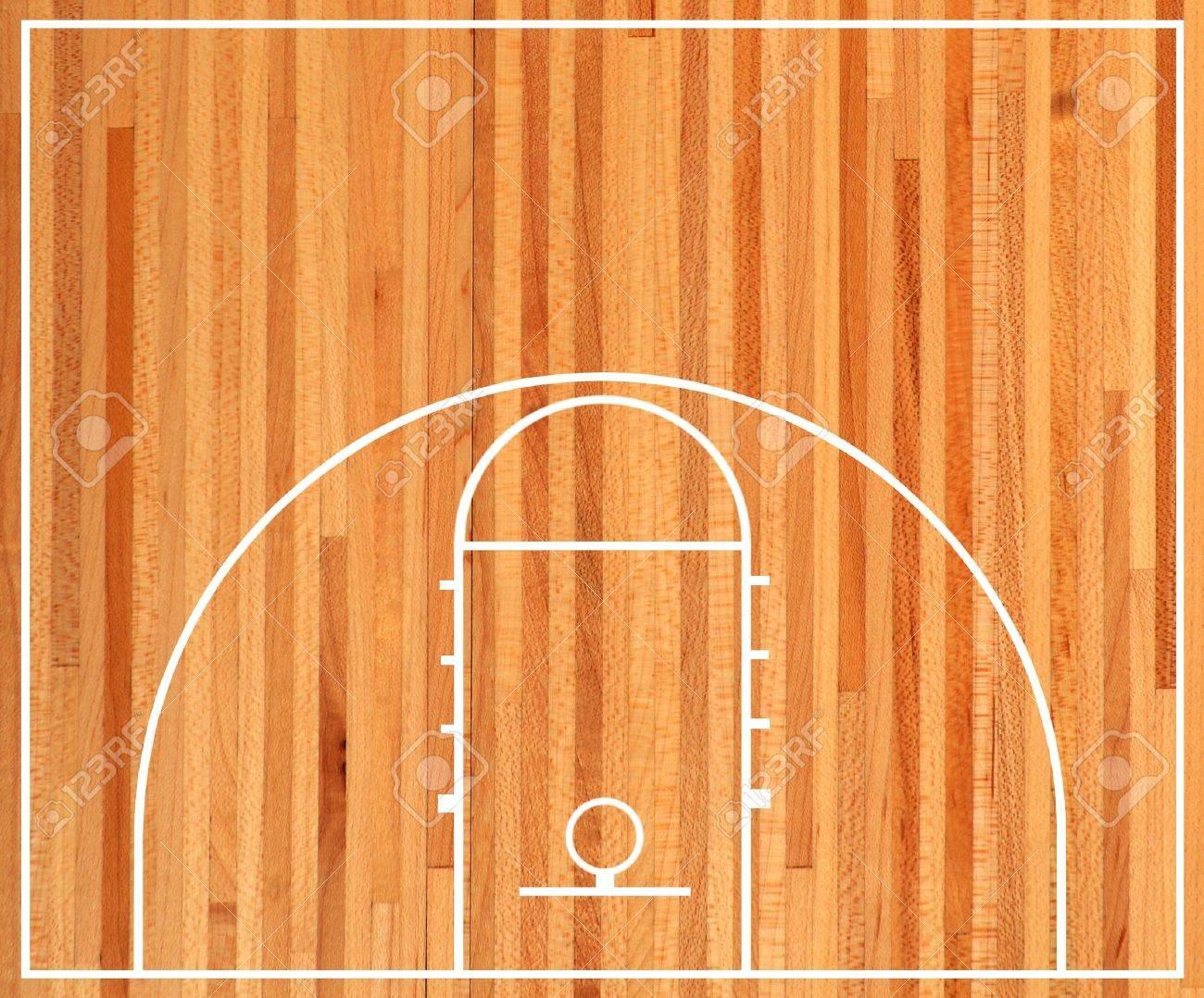 Basketball court floor plan on parquet background - 17066342