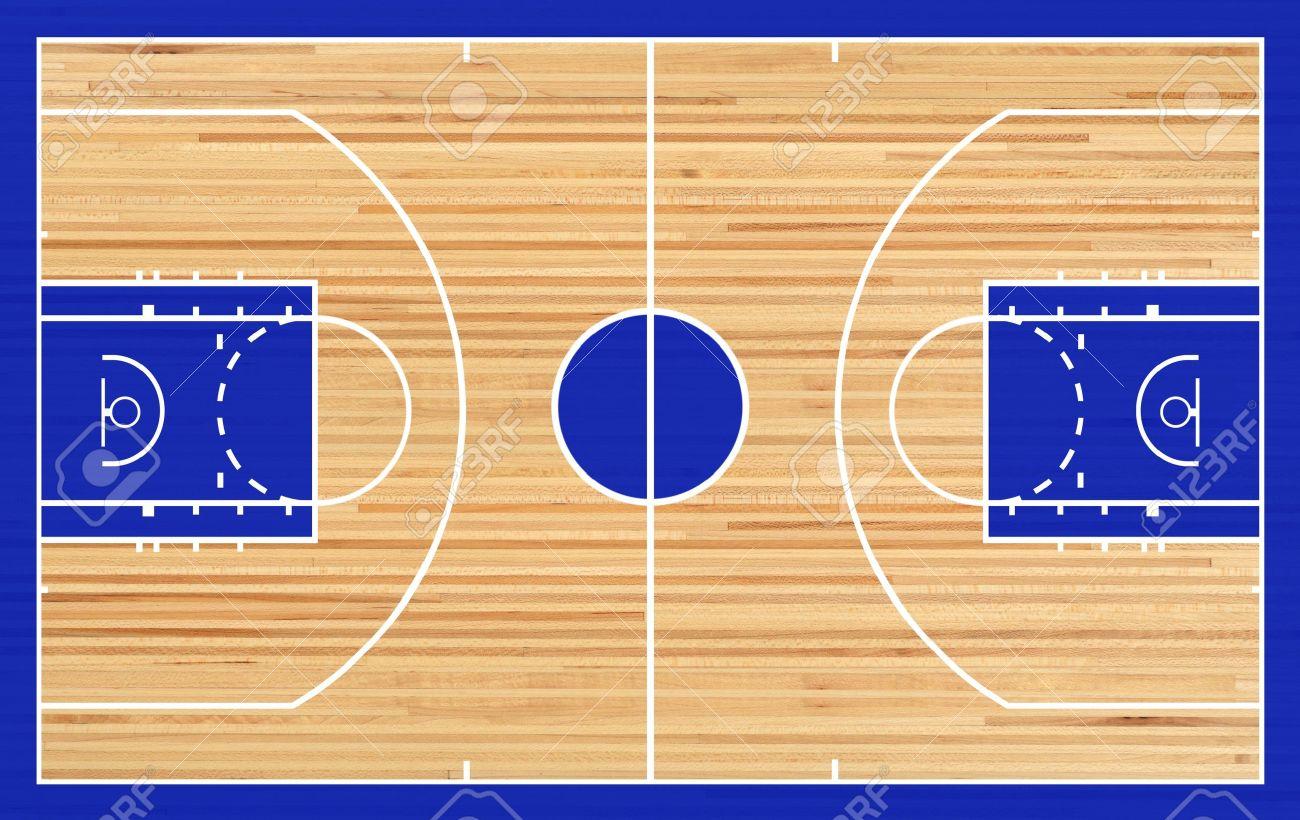 Basketball court floor plan on parquet background - 17806261