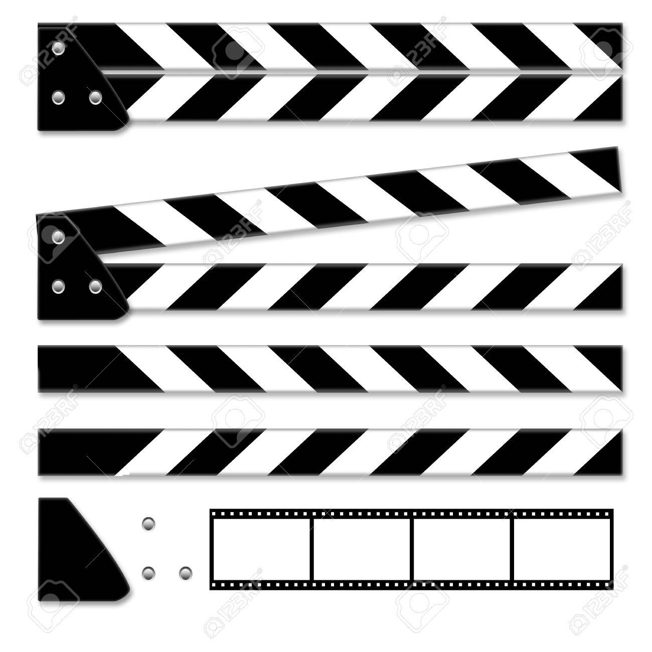 Parts of clapper board isolated on white background - 20036723