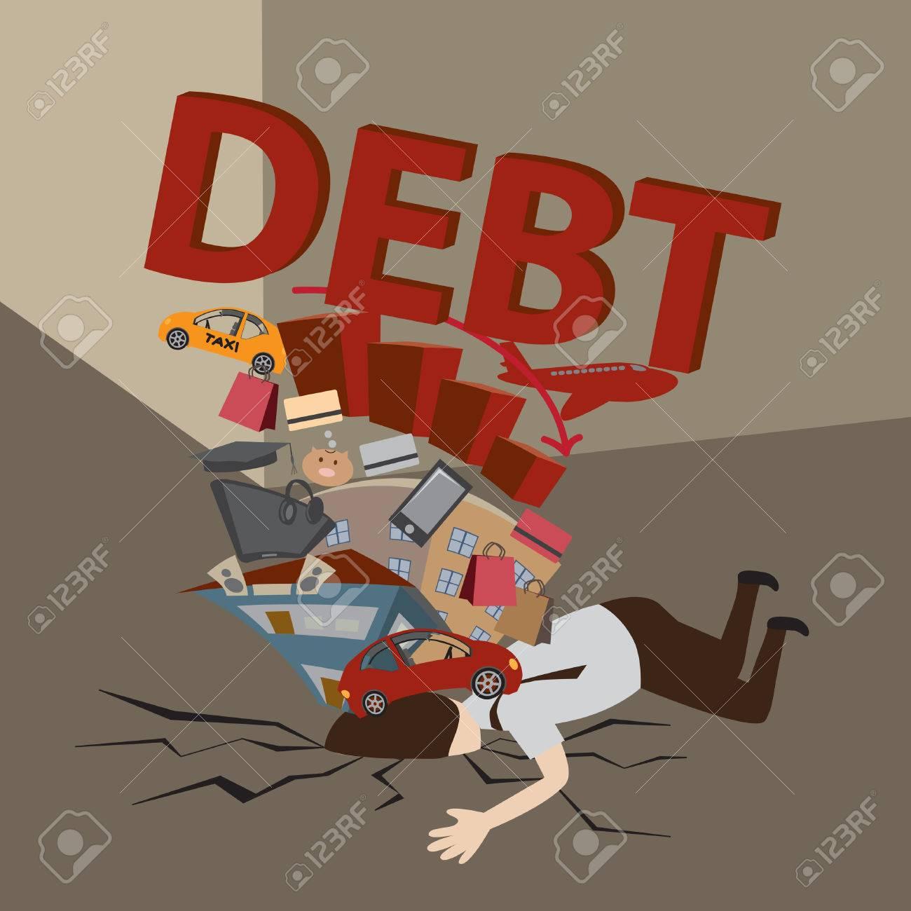 Businessman with Debt  Debt concept  Cartoon vector Stock Vector - 22788380