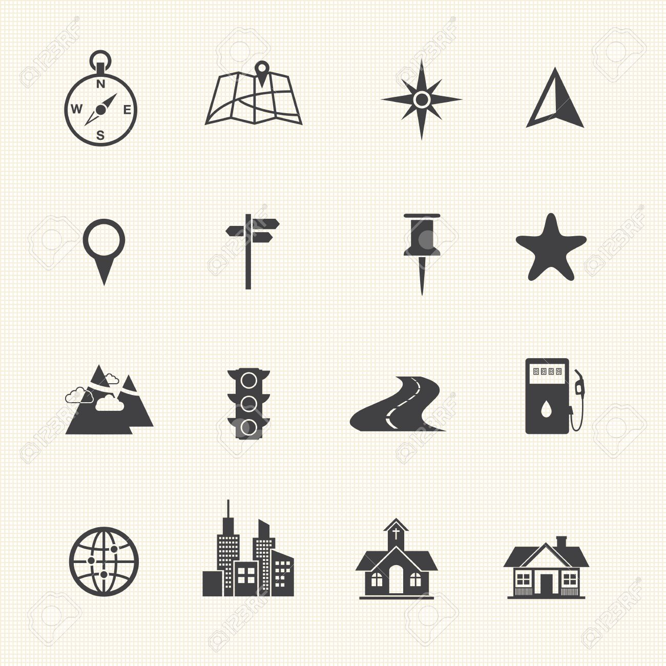 Map Icons And Location Icons Royalty Free Cliparts, Vectors, And ...
