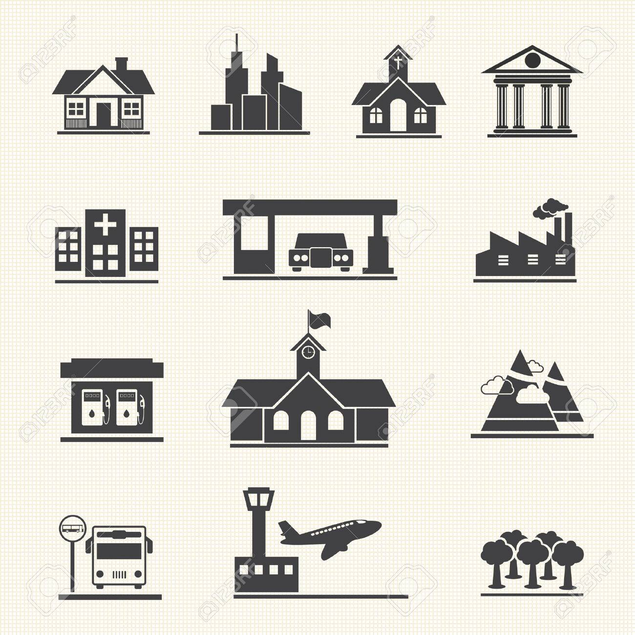 Icons set of places Stock Vector - 22764689