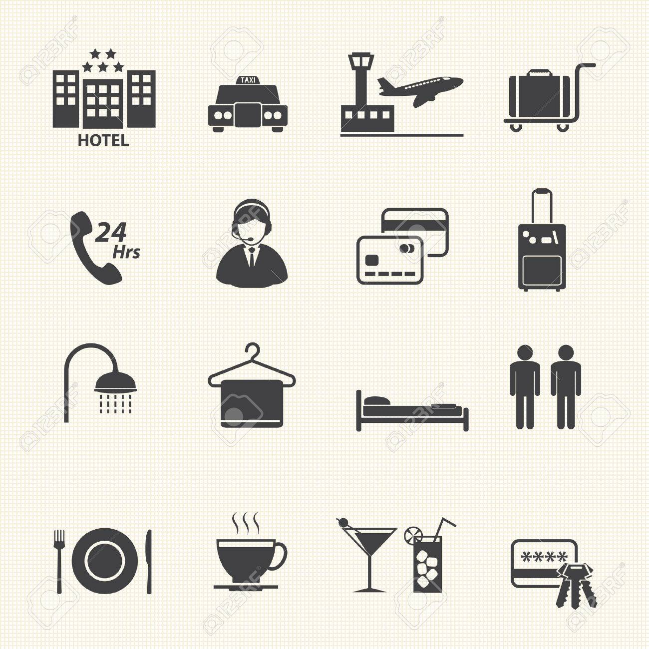 Hotel Services Icons set on texture background Vector - 22964789