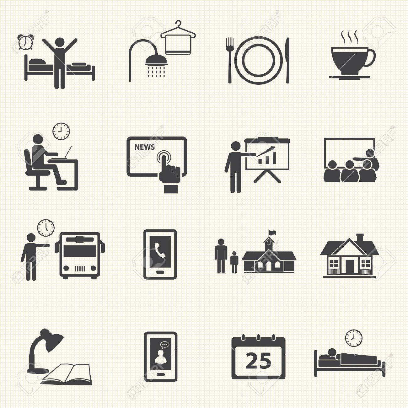 Man Daily Routine Icons - 23210712