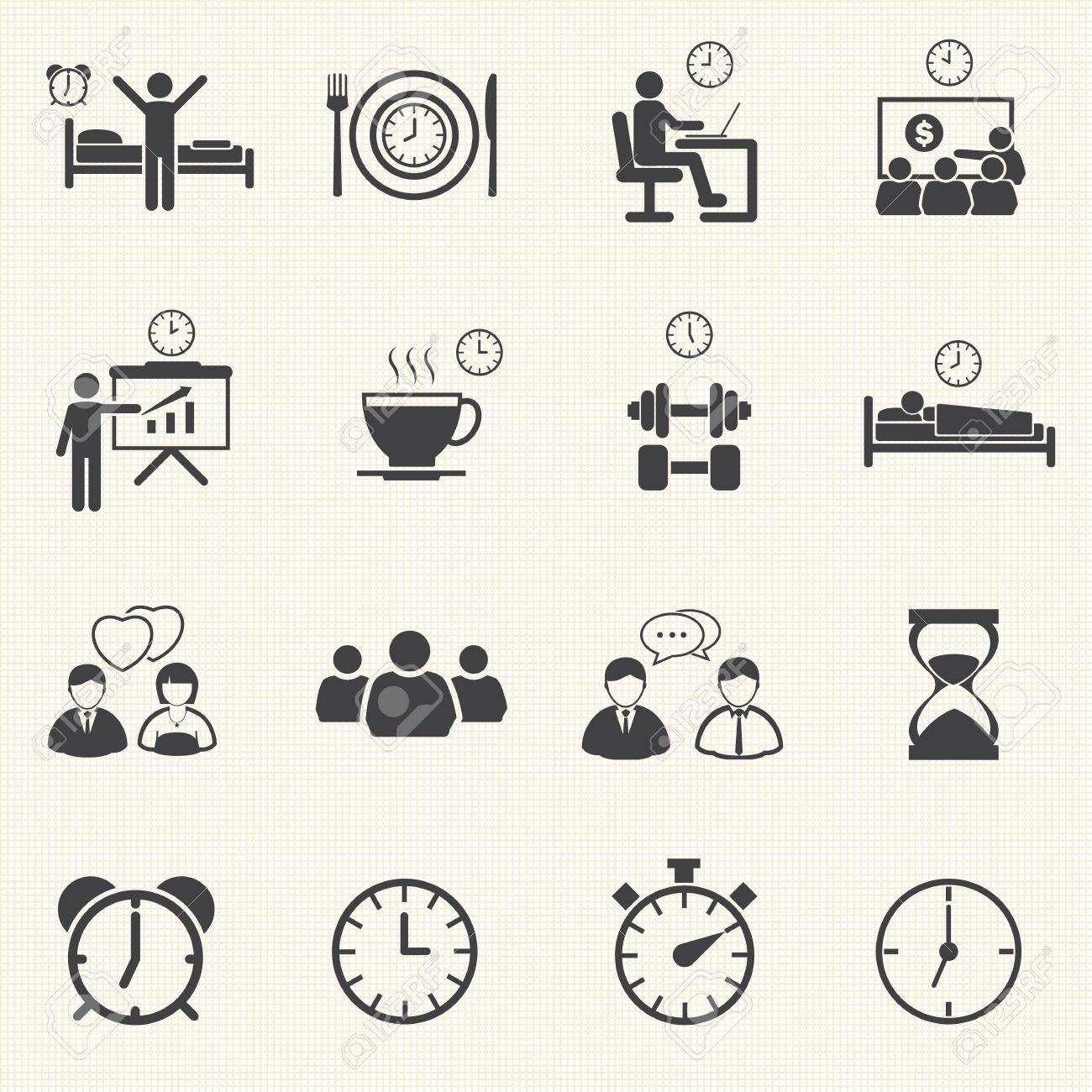 man daily routine people icons set with texture background royalty