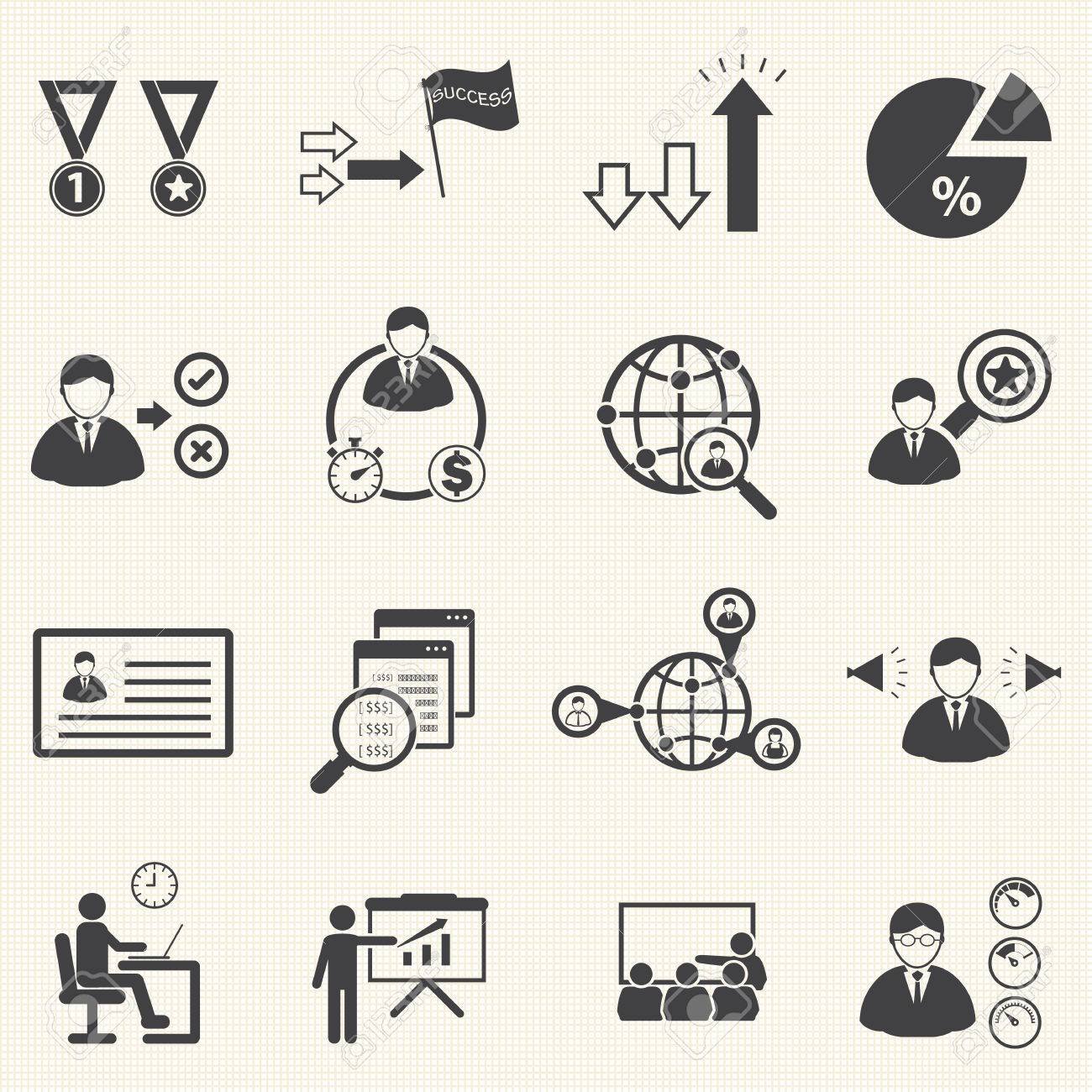 human resource management and consulting business icons set, vector set - 23865911