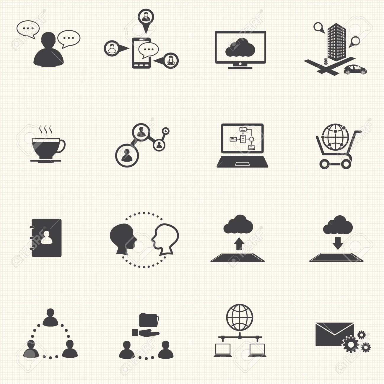 Business and social network icons set  Vector Stock Vector - 24657683