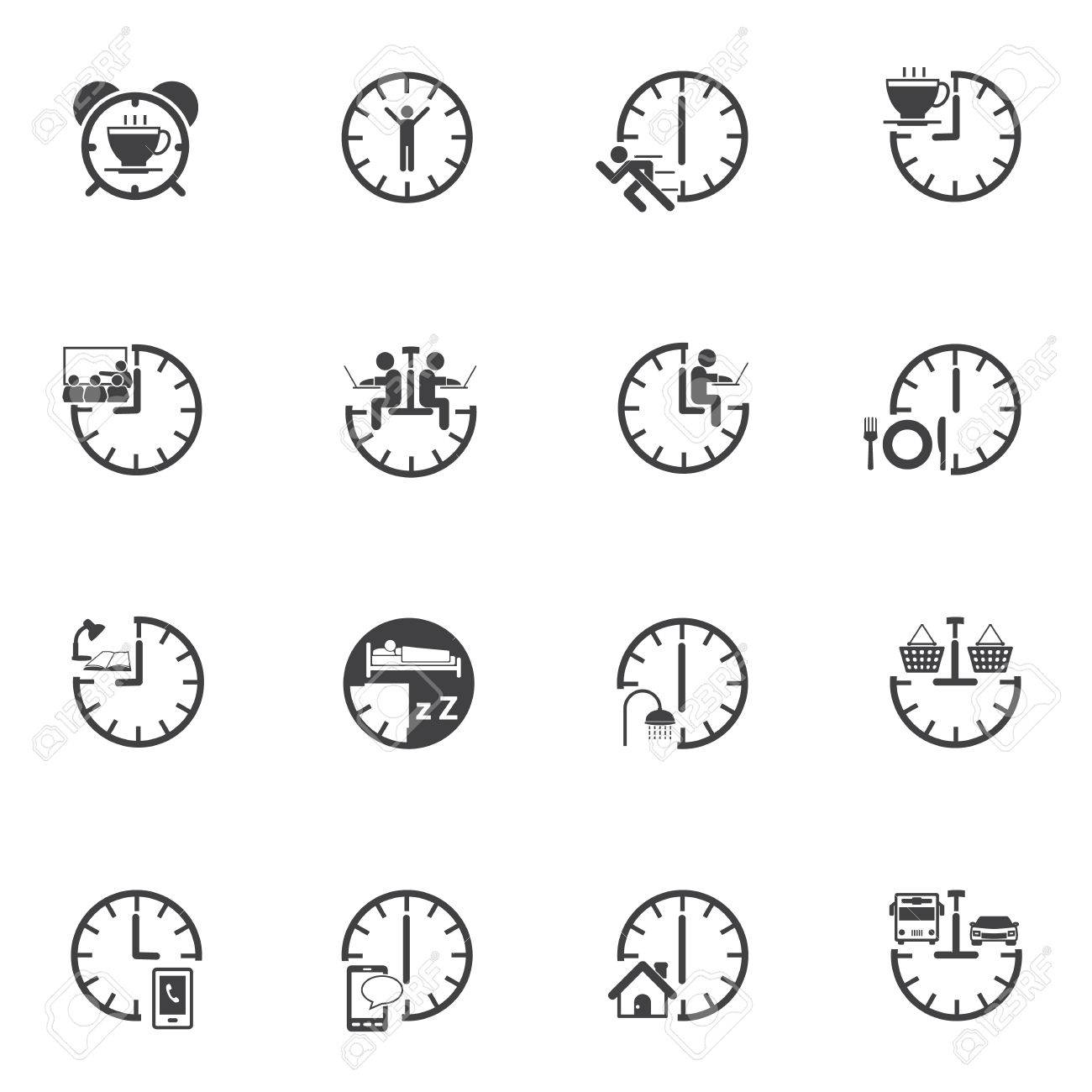 time daily routine icons set for internet marketing and services