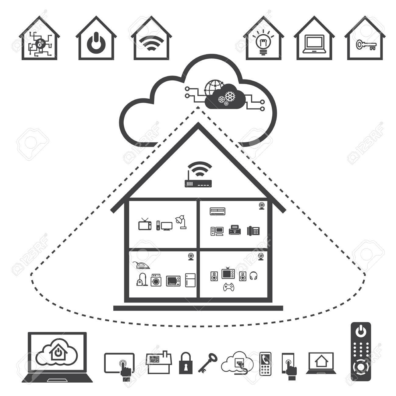Big Data Icon Set Cloud Computing Technology Stock Vector