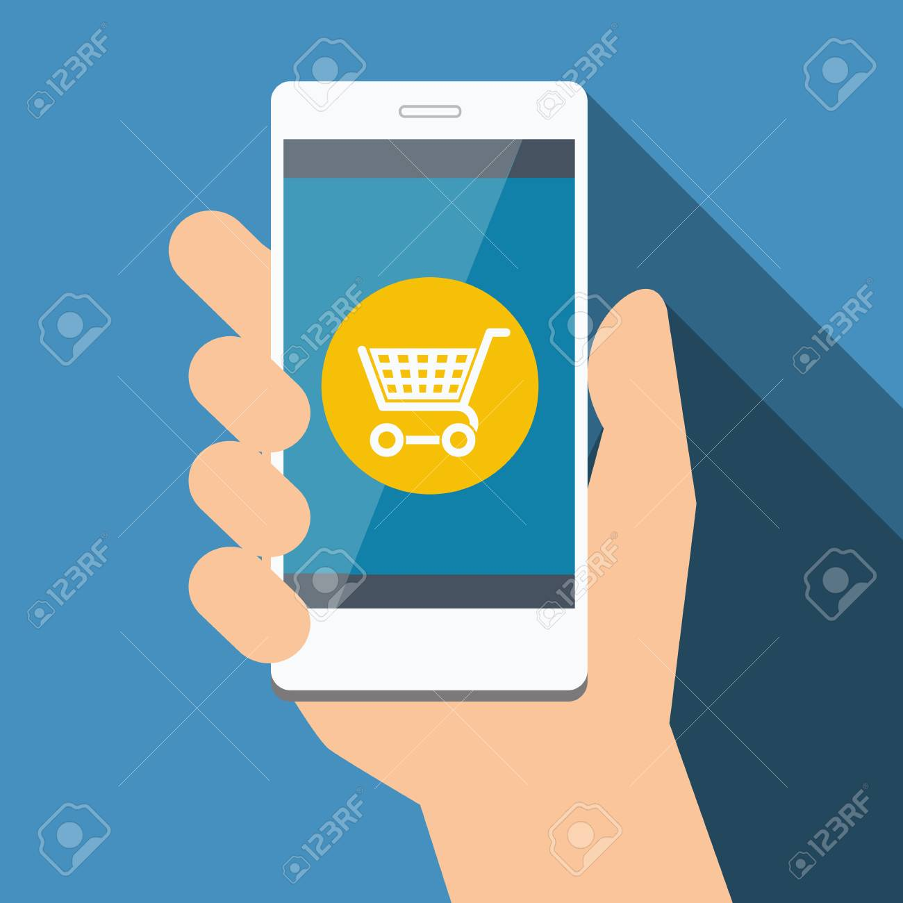 59820bc0e02 Mobile phone with online shopping. Vector Flat design Stock Vector -  48055415