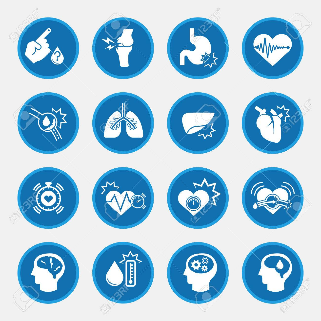 obesity related diseases icons with blue circle button - 65849111