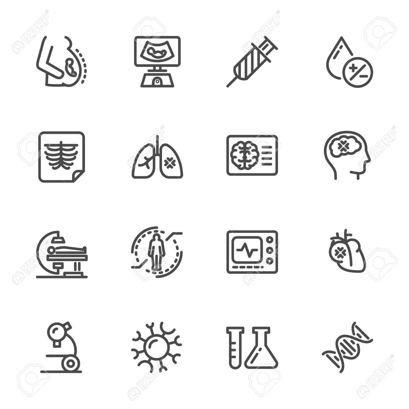 Medical diagnostics Health check up Vector line icons - 83082503