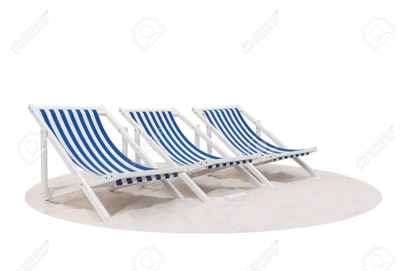 Phenomenal Three Blue And White Striped Beach Chair On The Sand Beach Isolated Caraccident5 Cool Chair Designs And Ideas Caraccident5Info
