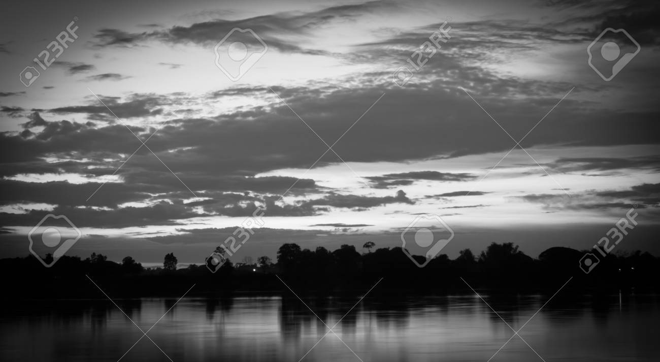 Black and white tone of scenery of river during twilight stock photo 41803614