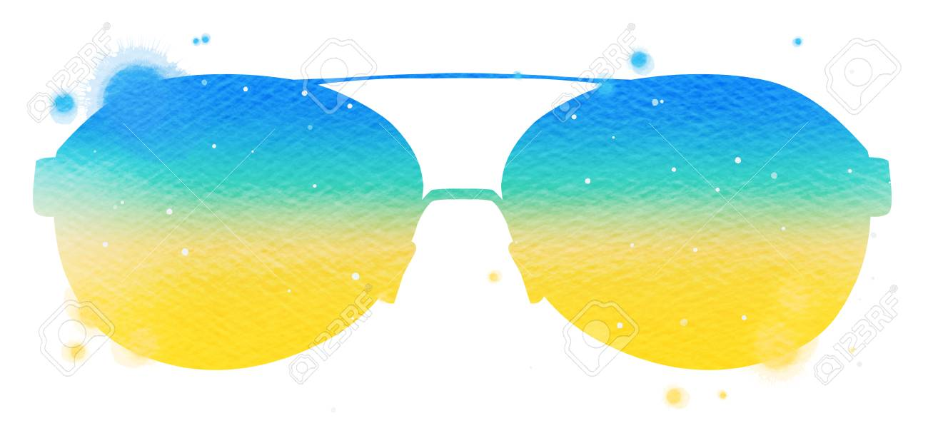 028bb75885d Watercolor yellow blue sunglasses isolated on white background...