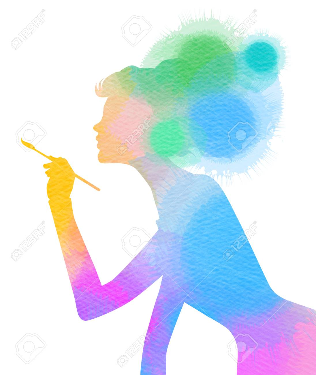 Side view of beautiful artist girl holding paint brush isolated over white background woman silhouette