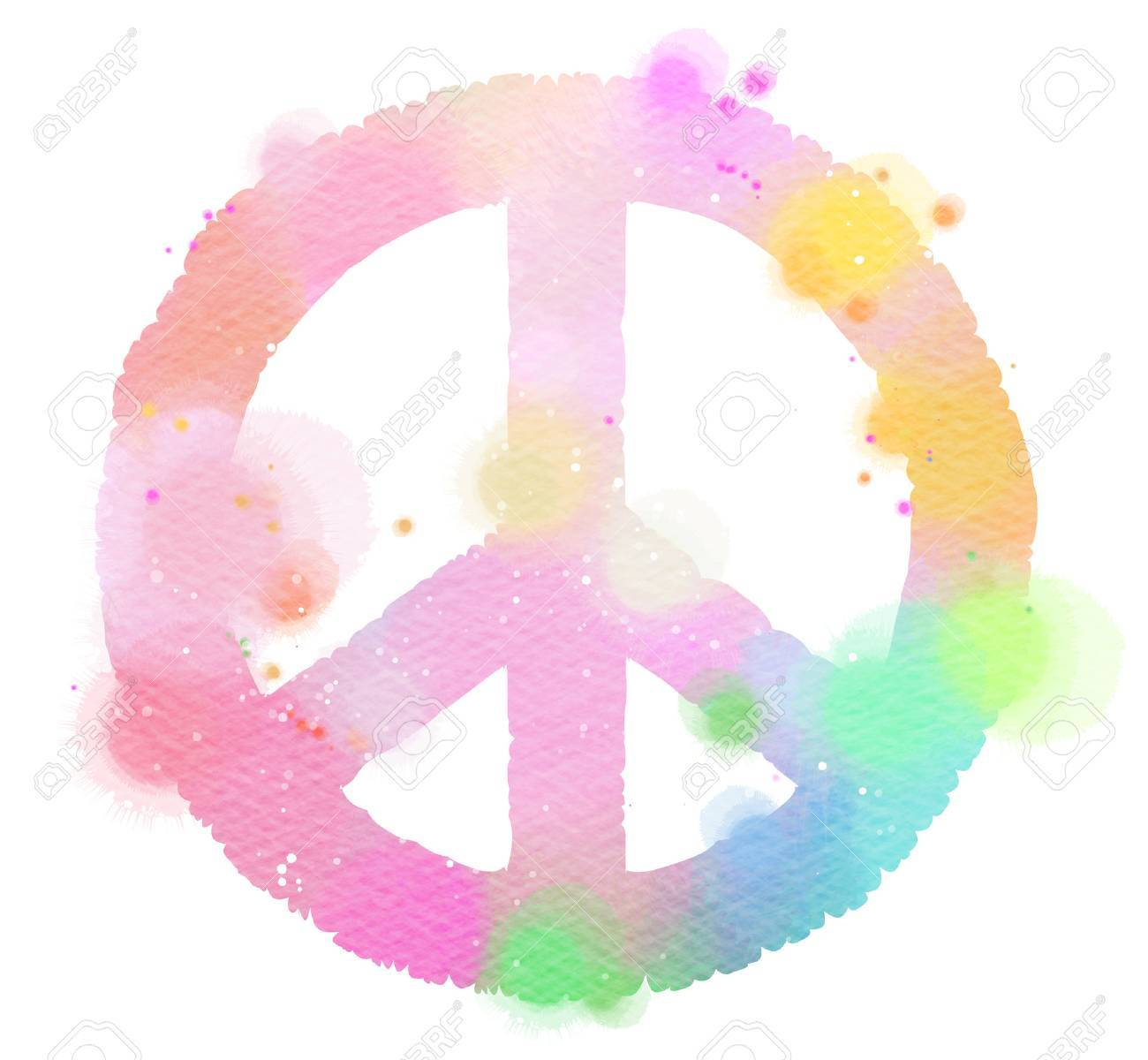Watercolor Peace Symbol Digital Art Painting Stock Photo Picture