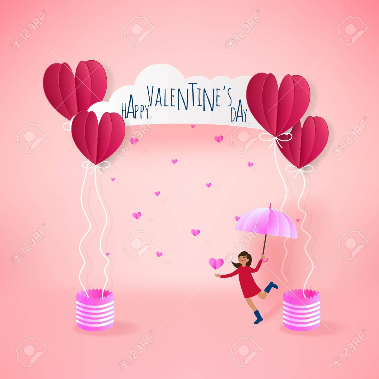 Love Invitation Card Valentine S Day Balloon Heart On Pink Background