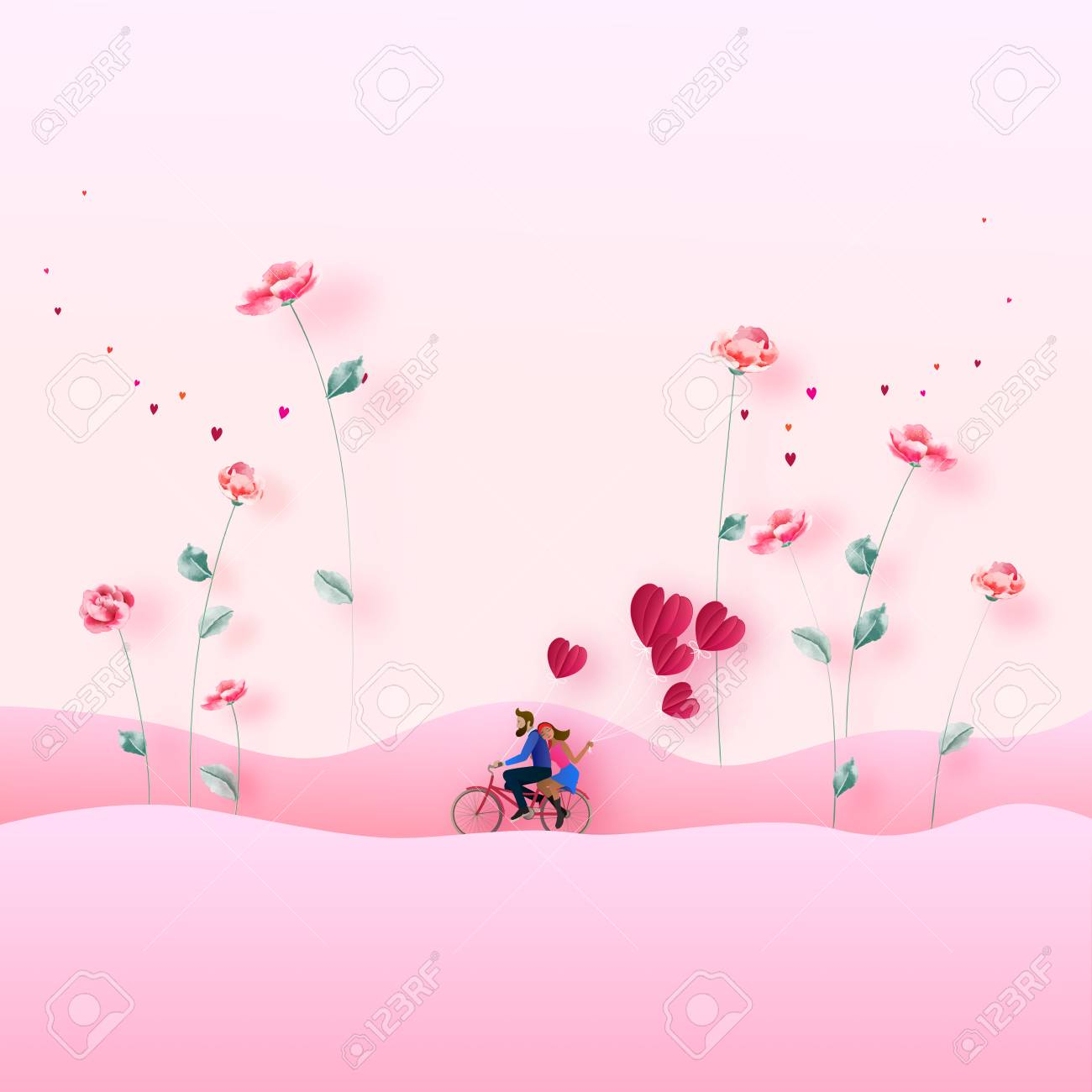 Illustration Of Couple With 3d Flower Love Concept Valentine S