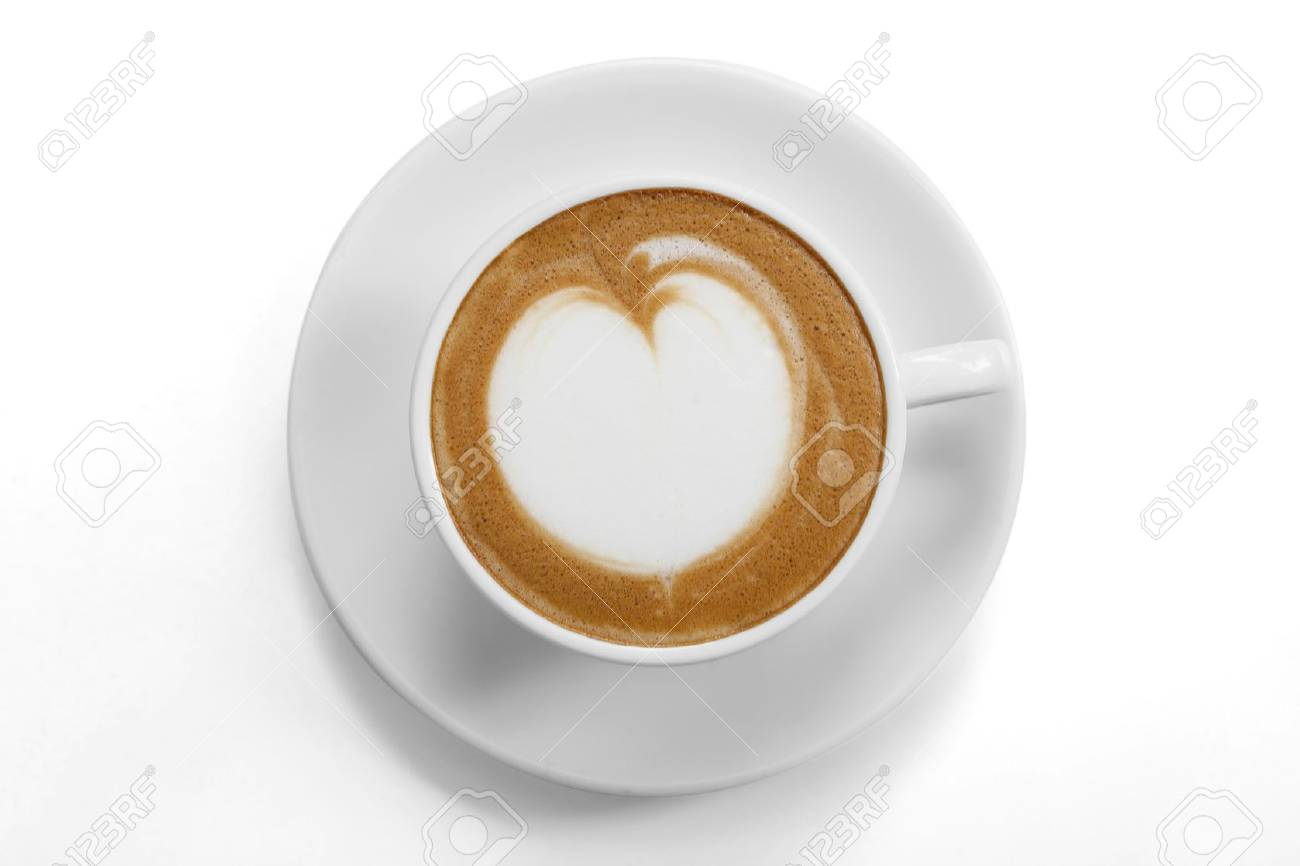Top View Of A Coffee Mug With Latte Art On White Background Stock Photo Picture And Royalty Free Image Image 21433590