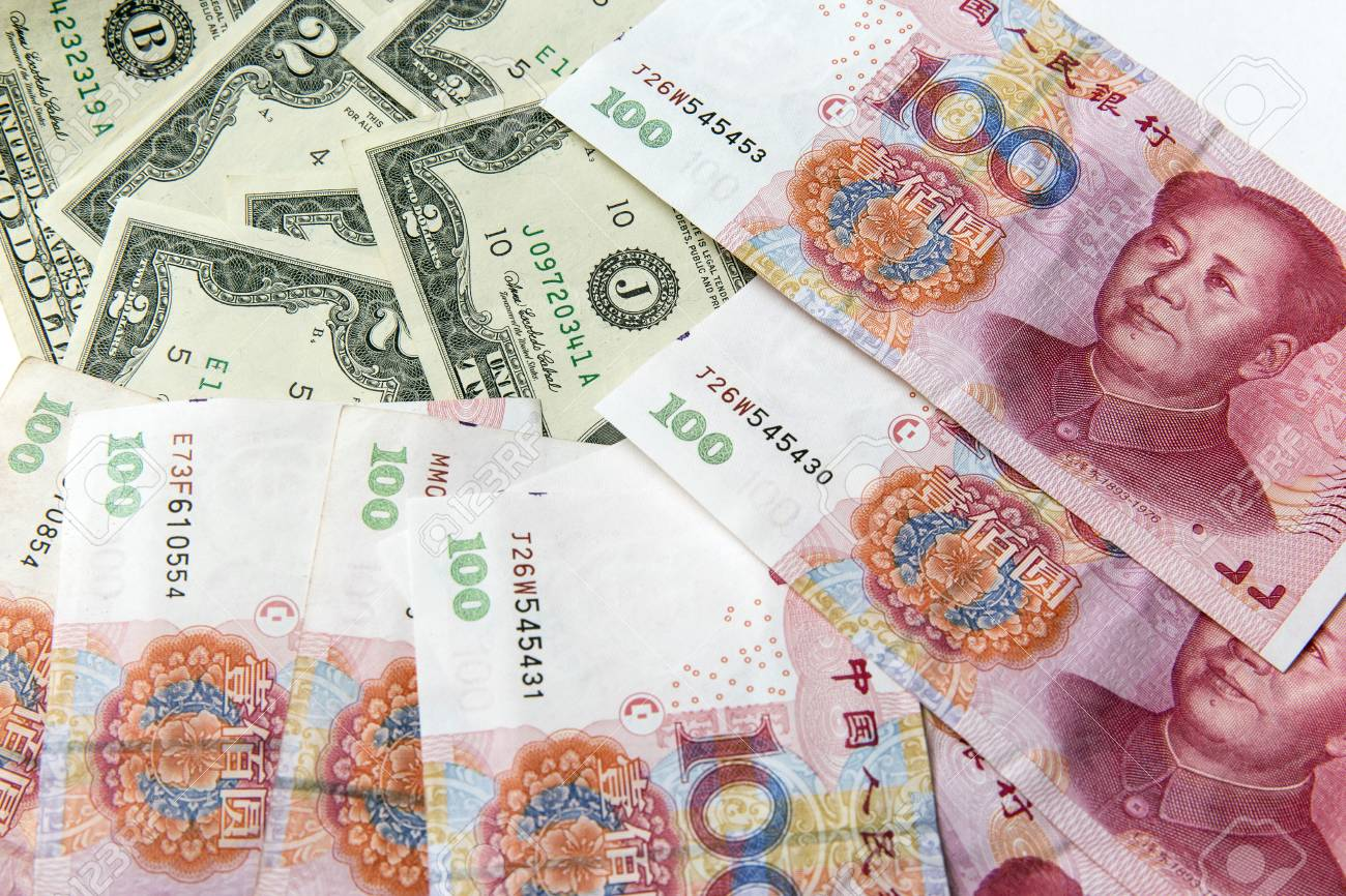 China Hundred Bills On Top Of American Two Dollar Bills Stock Photo Picture And Royalty Free Image Image 37777896