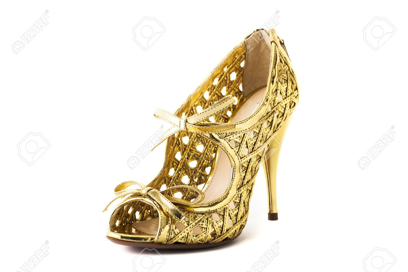 Golden High Heel Fashion Shoe On Background Stock Photo Picture And Shoes Gliter Heels 60629600