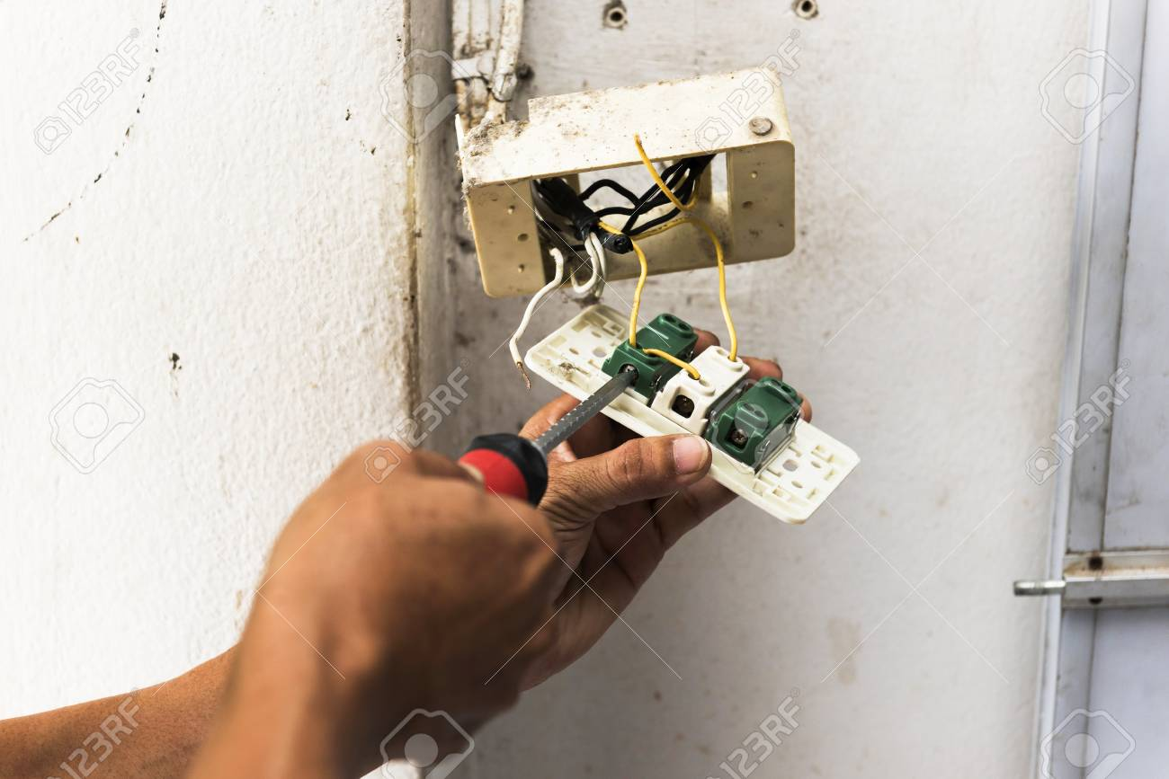 Repairing Household Power Dismantling Faulty Wall Switch Light Wiring A With At Changing Stock