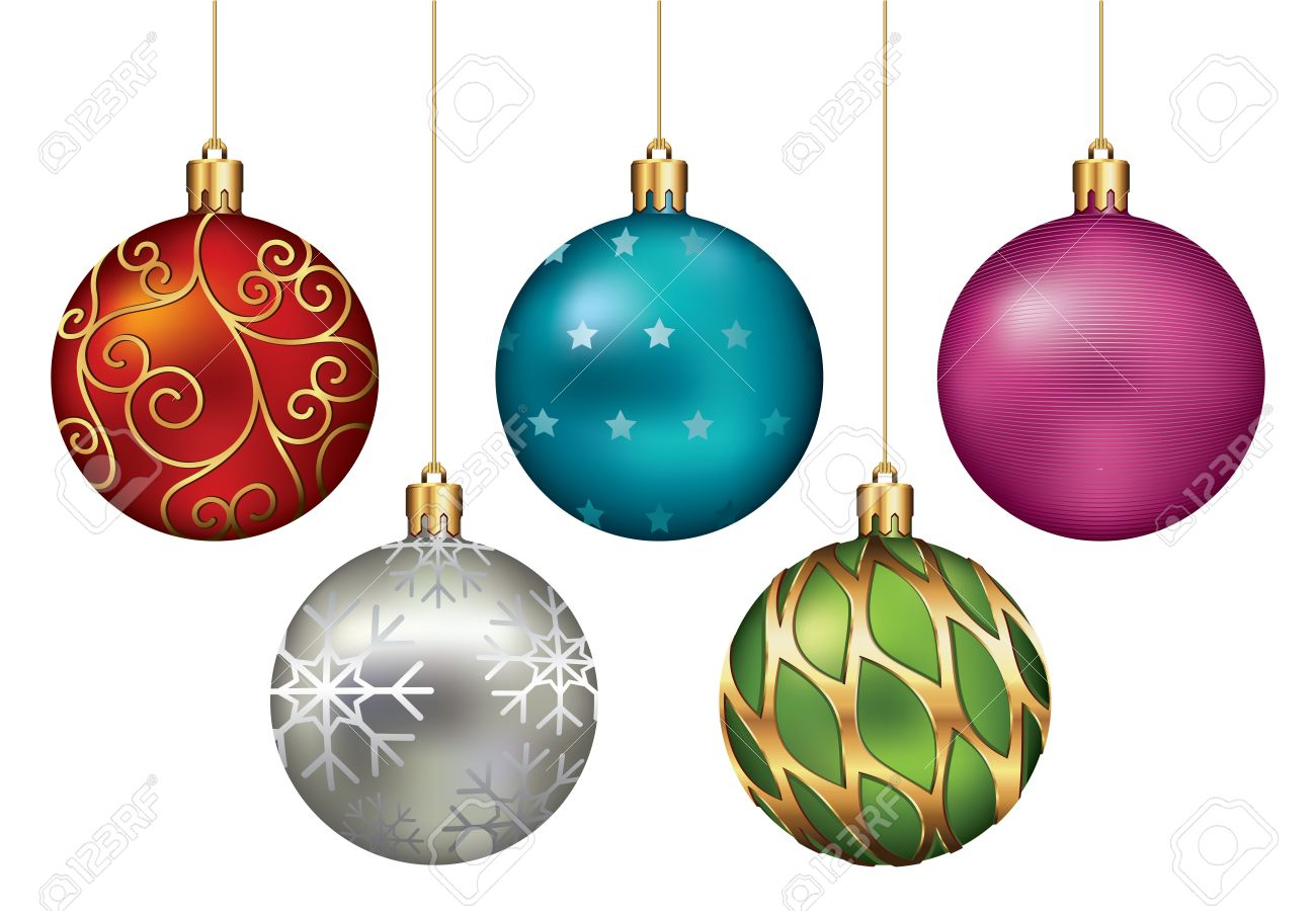 Christmas Ornaments Hanging on Gold Thread Stock Photo - 10961292